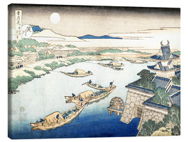 Canvastavla  Moonlight on the Yodo River - Katsushika Hokusai