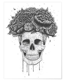 Premiumposter Skull with flowers