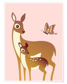 Poster  Mom And Baby Deer With Butterfly - Ashley Verkamp
