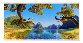 Premiumposter  Look in the Milford Sound New Zealand - Michael Rucker