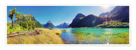 Premiumposter  Milford Sound with palms New Zealand - Michael Rucker