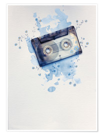Premiumposter Music tape with flowers and watercolour wash