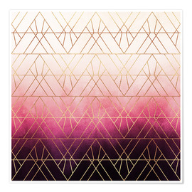 Premiumposter  Pink Ombre Triangles - Elisabeth Fredriksson