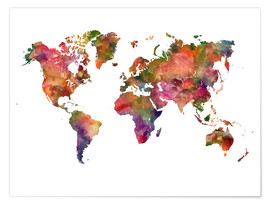 Poster  Colourful world map - Dani Wijeyesinghe