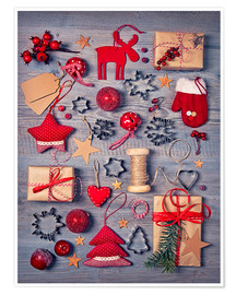 Premiumposter  Christmas deco auf dem wooden background - Elena Schweitzer