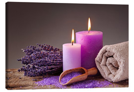 Canvastavla  Spa still life with candles and lavender - Elena Schweitzer