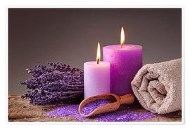 Premiumposter  Spa still life with candles and lavender - Elena Schweitzer