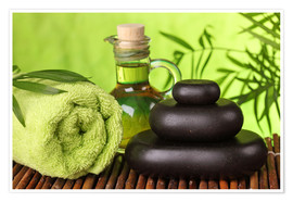 Premiumposter Spa still life with hot stones and essential oil