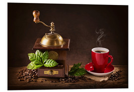 PVC-tavla  Coffee mill with beans and green leaves and a cup of coffee - Elena Schweitzer