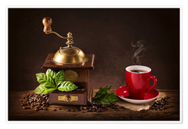 Premiumposter Coffee mill with beans and green leaves and a cup of coffee