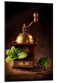 Akrylglastavla  Coffee mill with beans and green leaves and a cup of coffee - Elena Schweitzer