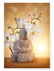 Premiumposter Buddha statue and orchid