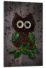 Akrylglastavla  Coffee owl from beans, leaves and cups - Elena Schweitzer