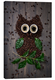 Canvastavla  Coffee owl from beans, leaves and cups - Elena Schweitzer
