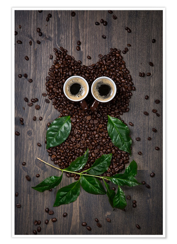 Premiumposter Coffee owl from beans, leaves and cups