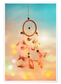 Premiumposter Dream catcher and abstract bokeh background