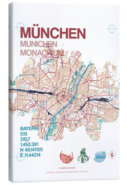 Canvastavla  Munich city map - campus graphics