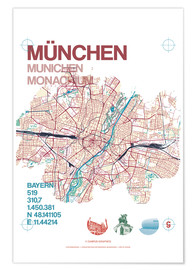 Premiumposter  Munich city map - campus graphics