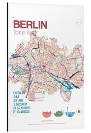 Aluminiumtavla  Berlin city motif map - campus graphics