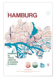 Premiumposter  Hamburg city motif map - campus graphics