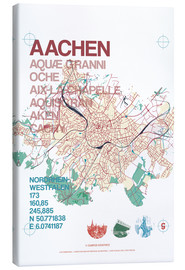Canvastavla  Aachen city motif map - campus graphics