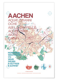 Premiumposter  Aachen city motif map - campus graphics