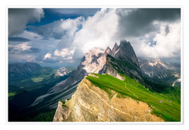 Premiumposter  Seceda - South Tyrol - Mountain panorama - Sebastian Jakob