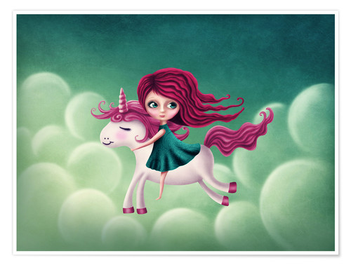 Premiumposter Illustration with a unicorn with a girl