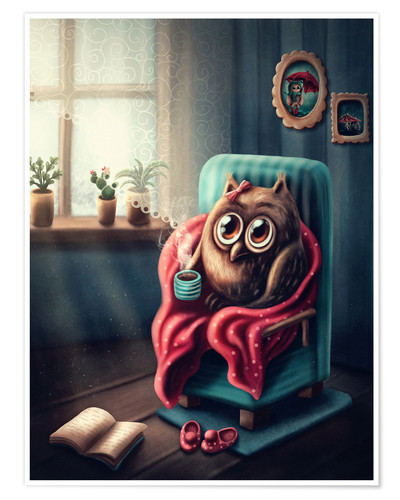 Premiumposter Owl with a cup of coffee