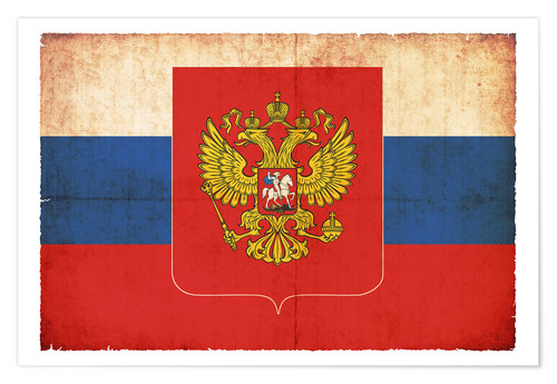 Premiumposter Old flag of Russia with coat of arms in grunge style