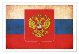 Premiumposter  Old flag of Russia with coat of arms in grunge style - Christian Müringer