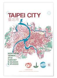 Premiumposter Taipei City Map