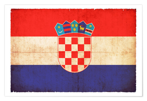 Premiumposter Old flag of Croatia in grunge style