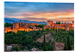 Akrylglastavla  Red Alhambra in the Evening - Jürgen Feuerer