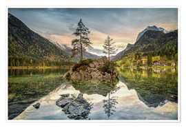 Premiumposter Hintersee at an evening in spring