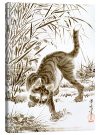 Canvastavla  Cat Catching a Frog - Kawanabe Kyosai