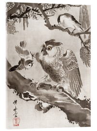 Akrylglastavla  Owl Mocked by Small Birds - Kawanabe Kyosai