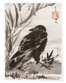 Premiumposter  Crow and Reeds by a Stream - Kawanabe Kyosai