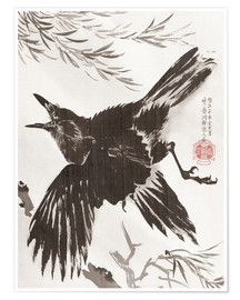Premiumposter  Crow and Willow Tree - Kawanabe Kyosai