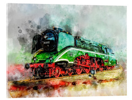 Akrylglastavla  Steam locomotive 18 201, the fastest steam locomotive in the world - Peter Roder