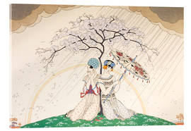 Akrylglastavla  Two women sheltering from the rain, under a tree - Georges Barbier