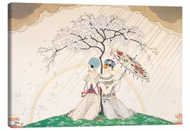 Canvastavla  Two women sheltering from the rain, under a tree - Georges Barbier