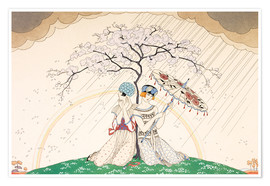 Premiumposter  Two women sheltering from the rain, under a tree - Georges Barbier