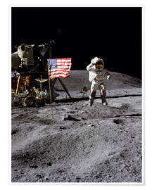 Premiumposter  Astronaut of the 10th manned mission Apollo 16 on the moon