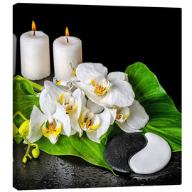 Canvastavla  Spa concept with candles and orchids