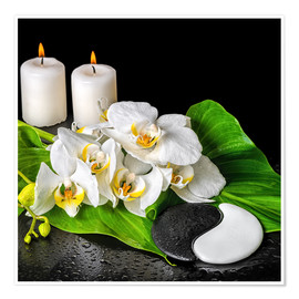Premiumposter  Spa concept with candles and orchids