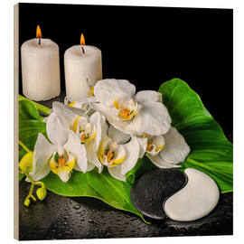 Trätavla  Spa concept with candles and orchids