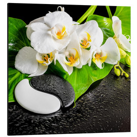 Aluminiumtavla  Spa arrangement with white orchid