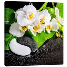 Canvastavla  Spa arrangement with white orchid