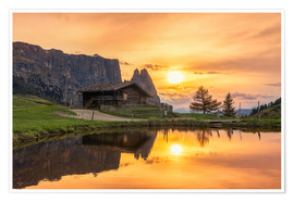 Premiumposter  Alpe di Siusi with Schlern at sunset - Dieter Meyrl